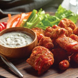Crispy Buffalo Chicken with Sour Blue Cheese Dip