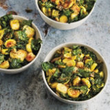 Crispy Roasted Kale and Brussels Sprout Salad