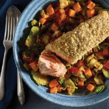 Crispy Salmon with Brussels Sprouts and Tomato Hash