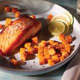 Crispy Salmon with Quick Sweet & Savory Potatoes