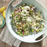 Cucumber, Pear and Red Onion Salad with Yogurt and Mint