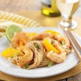 Ginger Citrus Shrimp Over Noodles