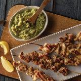 Grilled Chicken Kabobs with Artichoke Salsa