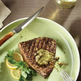 Grilled Fennel Rubbed Swordfish with Caper Butter