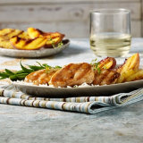 Grilled Fruit with Apricot Turkey Medallions
