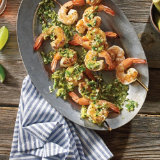 Grilled Gulf Shrimp with Okra & Jalapeño Gremolata