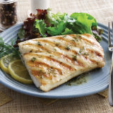 Grilled Halibut with Lemon Butter Caper Sauce