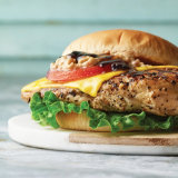 Grilled Hickory Chicken Burger with Cheddar Cheese and Peppers