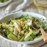 Grilled Pear and Romaine Salad with Olive & Mint Vinaigrette