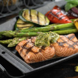 Grilled Salmon With Basil Pistachio Butter