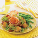 Grilled Scallops Atop Potato & Bacon Salad
