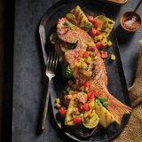Grilled Whole Snapper with Charred Fruit Relish