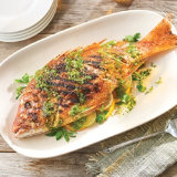 Grilled Whole Snapper with Mint Gremolata