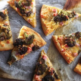 Ham Cheese Pizza With Roasted Broccoli