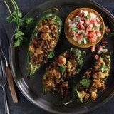 Oaxacan Chicken Stuffed Peppers
