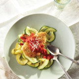 Quick Chicken Parmesan on Zucchini Ribbons