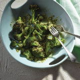 Roasted Broccoli with Feta Heirloom Tomato Dressing
