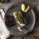 Roasted Halibut with Beet Green Pesto