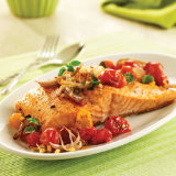 Roasted Salmon with Tomatoes & Shallots