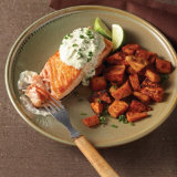 Salmon with Charred Sweet Potato and Jalapeño Yogurt