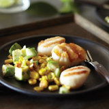 Scallops with Grilled Corn and Avocado Relish