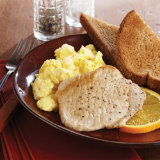 Scrambled Eggs and Pork Chop with Toast