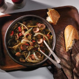 Slow Cooker Spicy Sausage with Greens & Beans