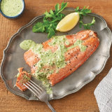 Sockeye Salmon Al Forno with Arugula Cream Sauce