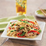 Spicy Pork with Pasta and Green Beans