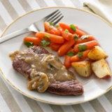 Steaks And Mushrooms In Port Wine Sauce