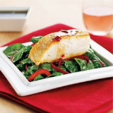 Sweet & Spicy Sea Bass With Baby Spinach