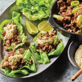 Tangy Beef Lettuce Cups with Charred Leek Yogurt
