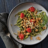 Zucchini Spirals with Basil and White Beans