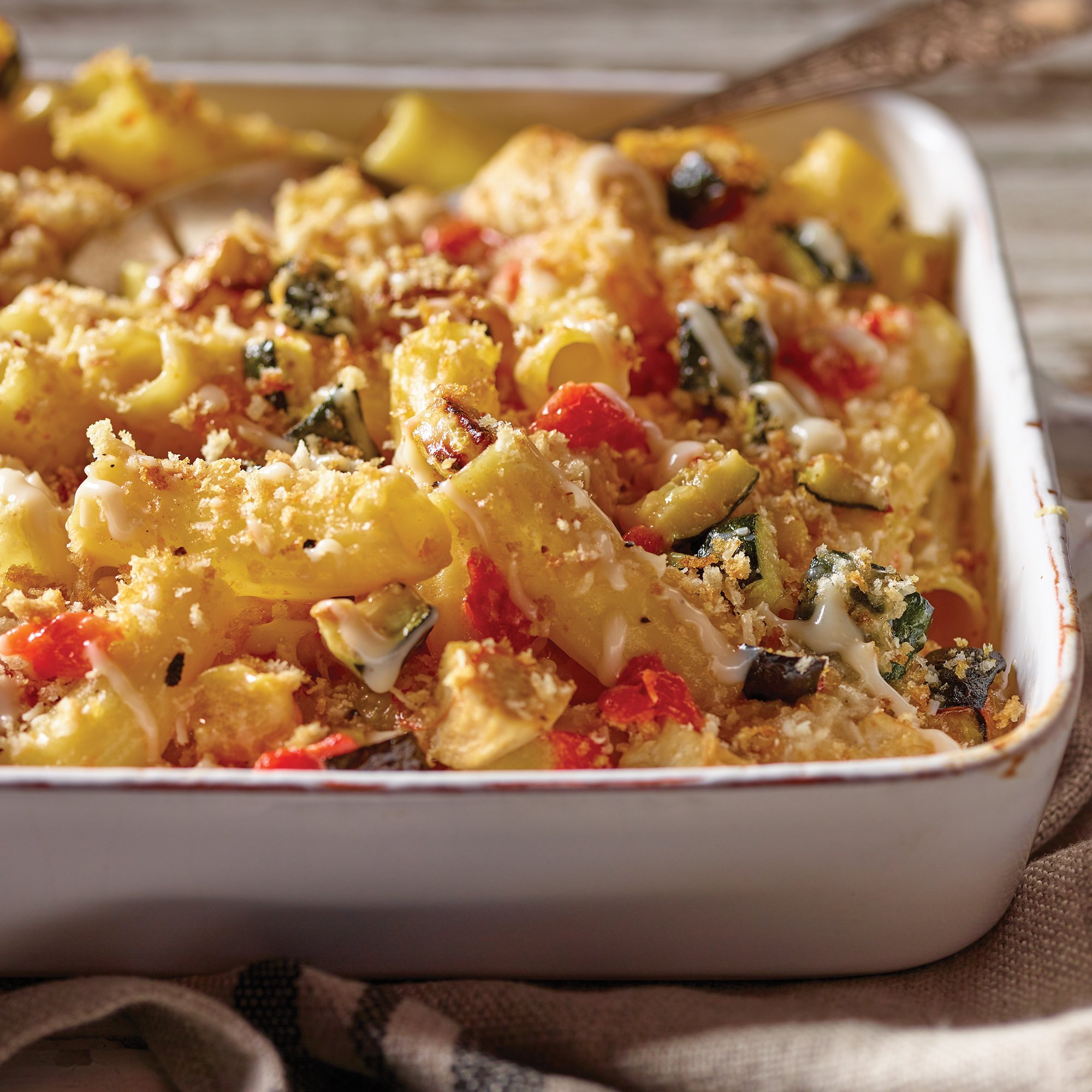 Roasted Vegetable And Chicken Alfredo Pasta Bake Recipe From H E B