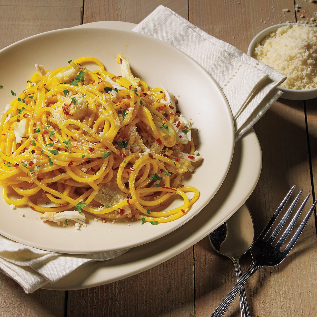 Spicy Saffron Crab Spaghetti Recipe From H E B