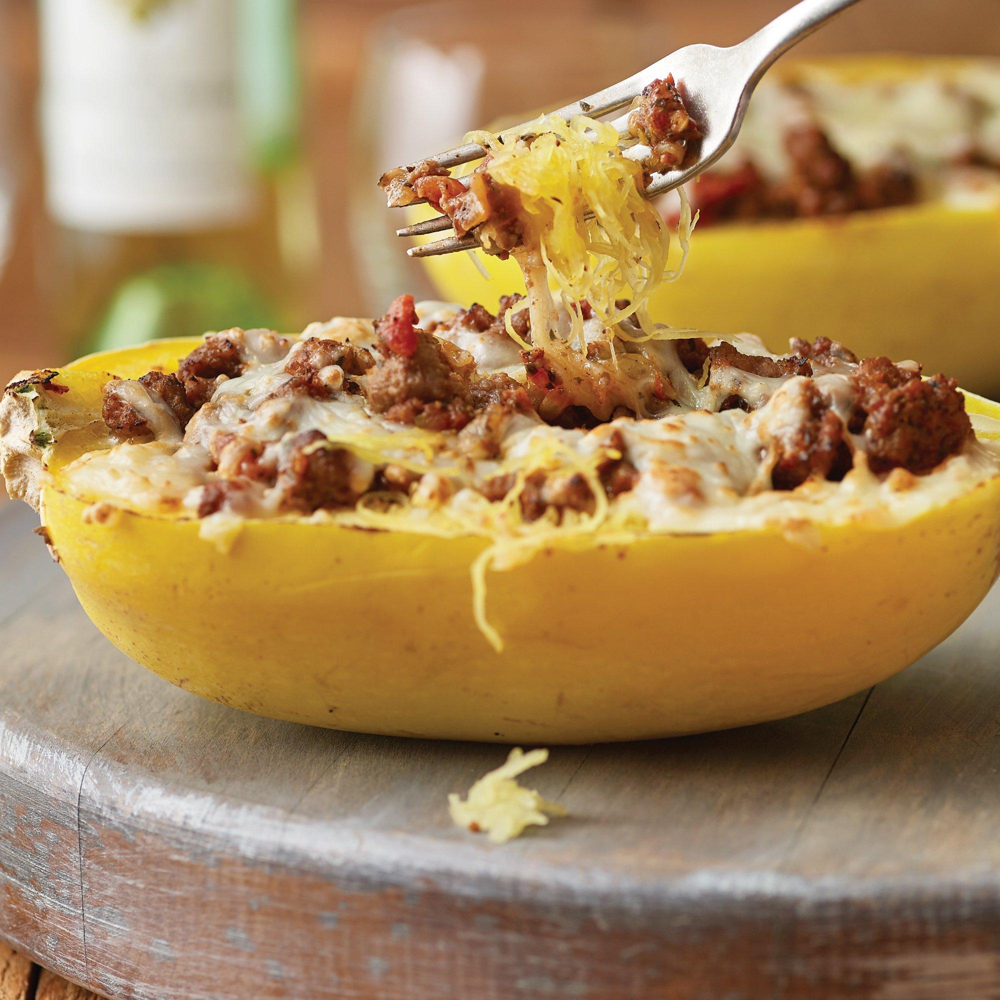 Spicy Spaghetti Squash Boats Recipe from H‑E‑B